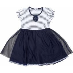 Pom Pom Kleid blau-weiß,...